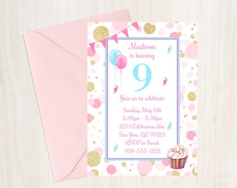 9th Birthday Party Invitation Ninth Invite Girls Pink And Gold Cupcake