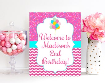 2nd Birthday Sign Welcome Decorations Second Girls Party 2 Year Old