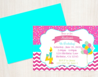 4th Birthday Invitation Printable Invite 4 Year Old