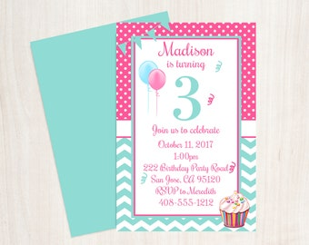 3rd Birthday Party Invitation Third Girls 3 Year Old Invite