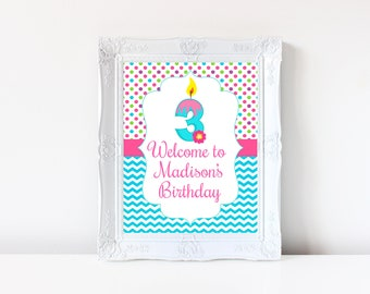 3rd Birthday Welcome Sign Decorations Printable Third 3 Year Old Party