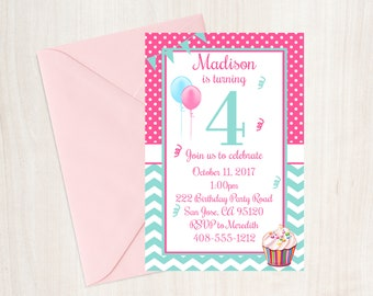 4th Birthday Party Invitation Fourth Girls Cupcake