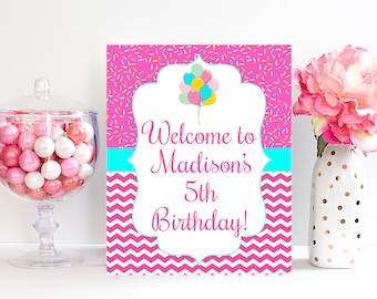 5th Birthday Party Welcome Sign Decorations Fifth