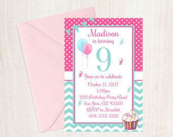 9th Birthday Party Invitation Ninth Girls Cupcake 9 Year Old