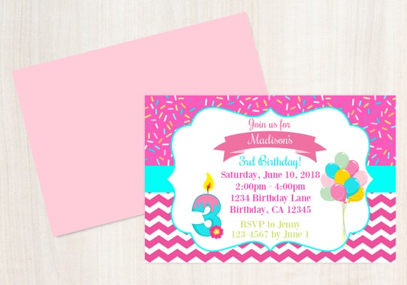 3rd Birthday Invitation Printable Invite 3 Year Old Party Girls