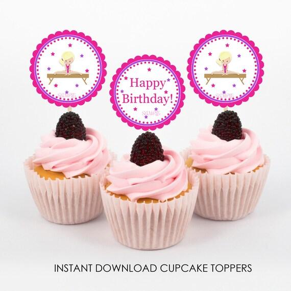 Gymnastic Cupcake Toppers Gymnastics Birthday Party