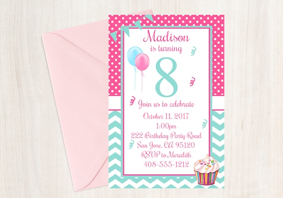 8th Birthday Party Invitation Eighth Girls Cupcake 8 Year Old