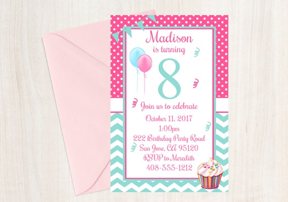 8th Birthday Party Invitation Eighth