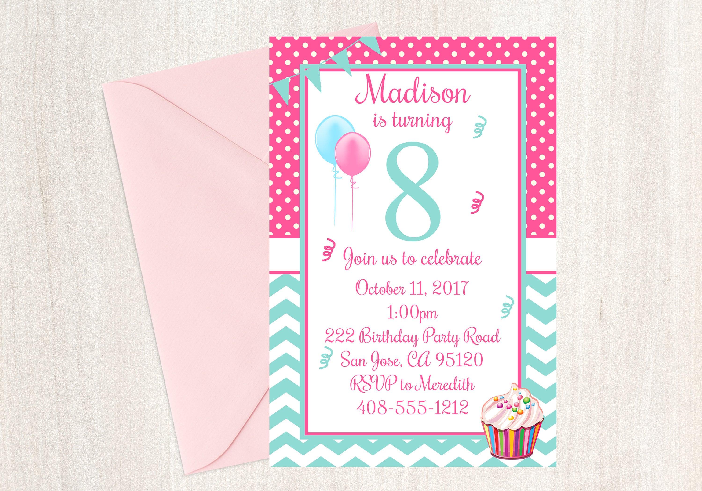 8th Birthday Party Invitation Eighth
