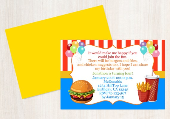 Fast Food Birthday Invitation Kids Birthday Invitation Etsy