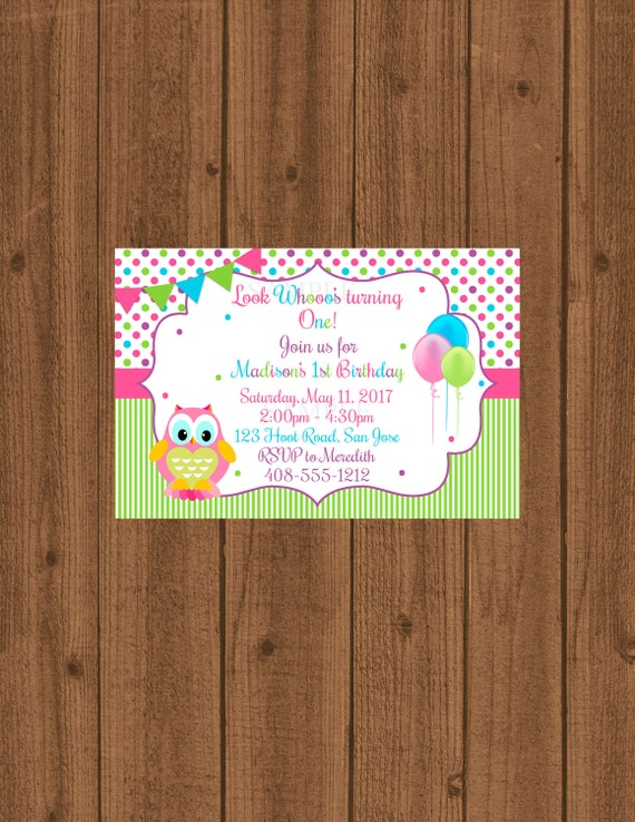 Owl Birthday Invitation Owl 1st Birthday Party Girls 1st Birthday