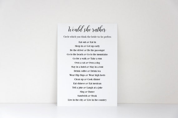 photo about Would She Rather Bridal Shower Game Free Printable called Would She As a substitute, Bridal Shower Match, Printable Match