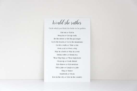 photograph regarding Would She Rather Bridal Shower Game Free Printable called Would She Fairly, Bridal Shower Recreation, Printable Activity