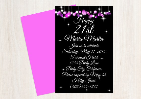21st birthday invitation 21st birthday party pink black etsy image 0 filmwisefo