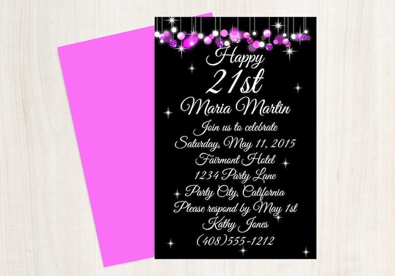 21st Birthday Invitation Party Pink Black