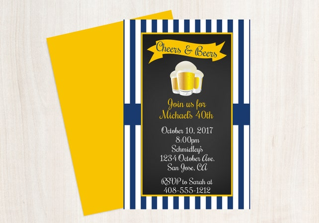 Cheers Beers Invitation Beer 40th Birthday Male Invite