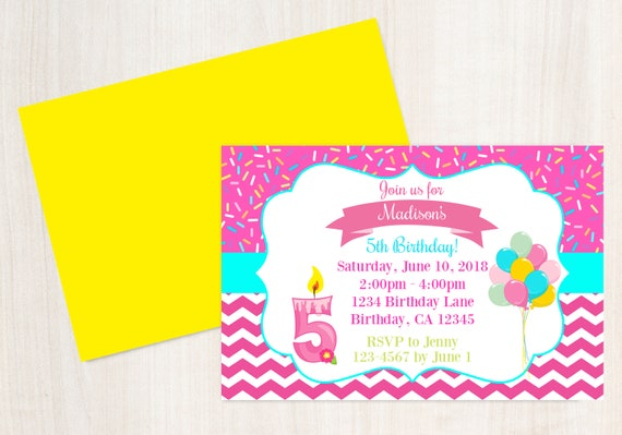 5th Birthday Invitation Printable Invite 5 Year Old Party Girls