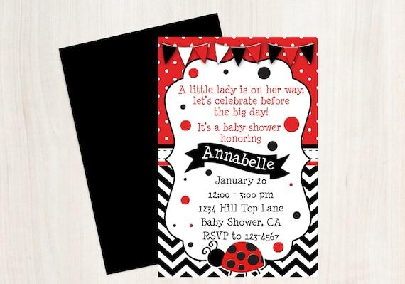 Ladybug Baby Shower Invitation Ladybug Red And Black Invitation