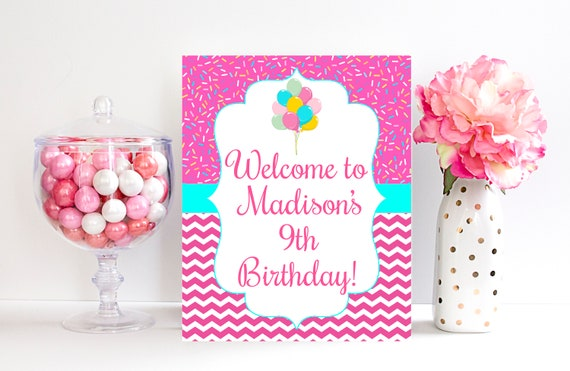 9th Birthday Party Sign Welcome Decorations Door 9 Year Old
