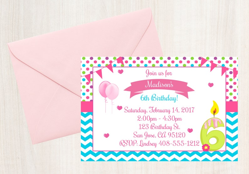 6th Birthday Invitation