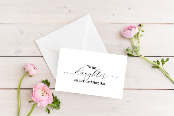 To My Daughter On Her Wedding Day Wedding Card Wedding Day Card