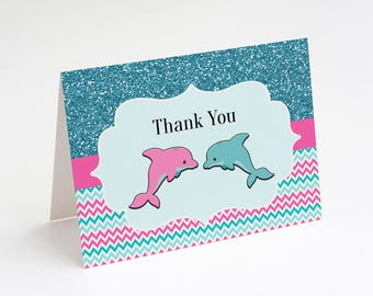 Dolphin Birthday, Thank You Cards, Printable Thank You, Instant Download, Dolphin Party, Girls Dolphin Party, Dolphin Decorations, Birthday