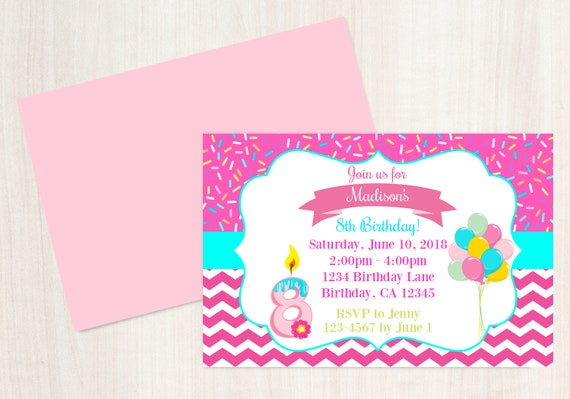 8th Birthday Invitation Eight Is Great Printable Invite 8 Year Old Sweet Party Wishes
