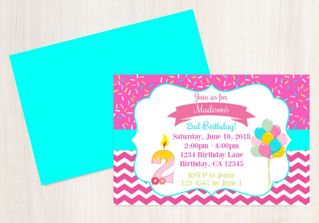 2nd Birthday Invitation Invite 2 Year Old Party