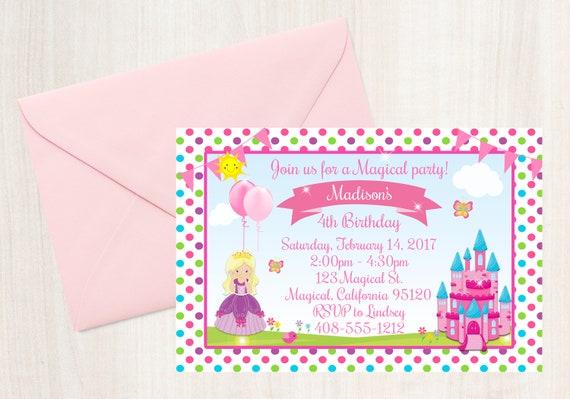 princess birthday party invitation princess party invitation