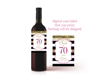 70th Birthday, Wine Label, 70th Birthday Gift, 70th, Wine Bottle Label, Champagne Label 70th Birthday Ideas, 70 Year Old Gift, Printable
