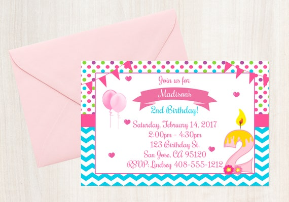 2nd Birthday Invitation Printable Invite 2 Year Old Party Girls