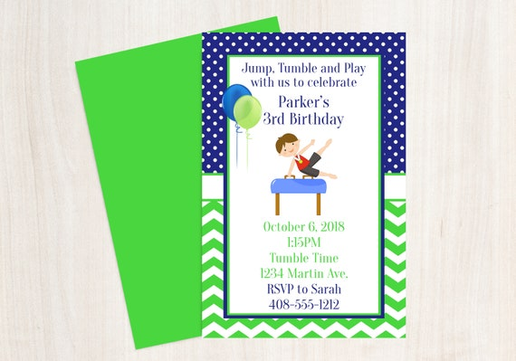 Boys Gymnastics Invitation Party Birthday Printable