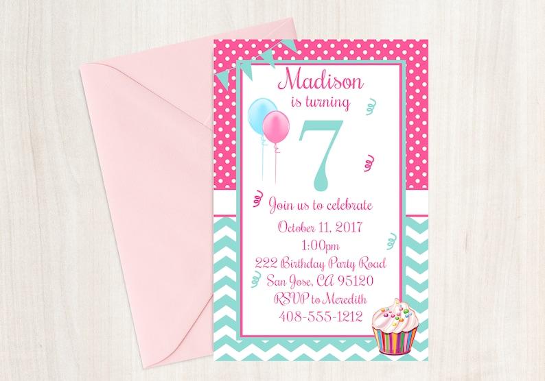 7th Birthday Seventh Invite