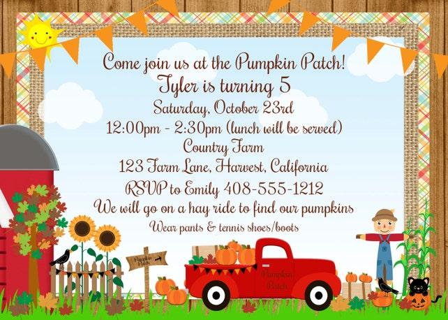 Pumpkin Invitation Patch Birthday Hayride Halloween 1st Party