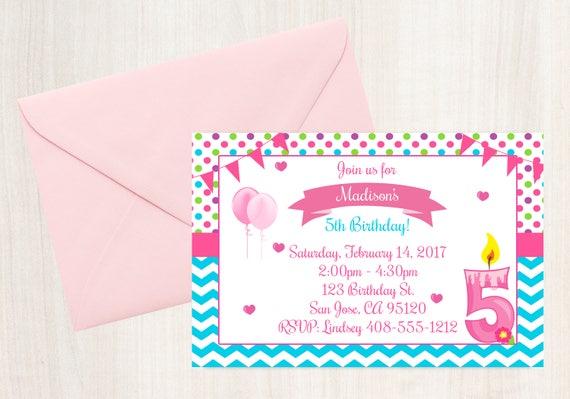5th Birthday Invitation Printable Invite 5 Year Old Party Girls