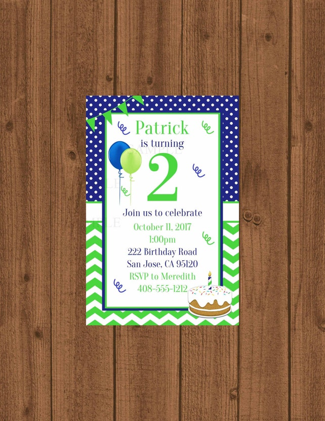 2nd Birthday Party Invitation Second Boys 2 Year Old