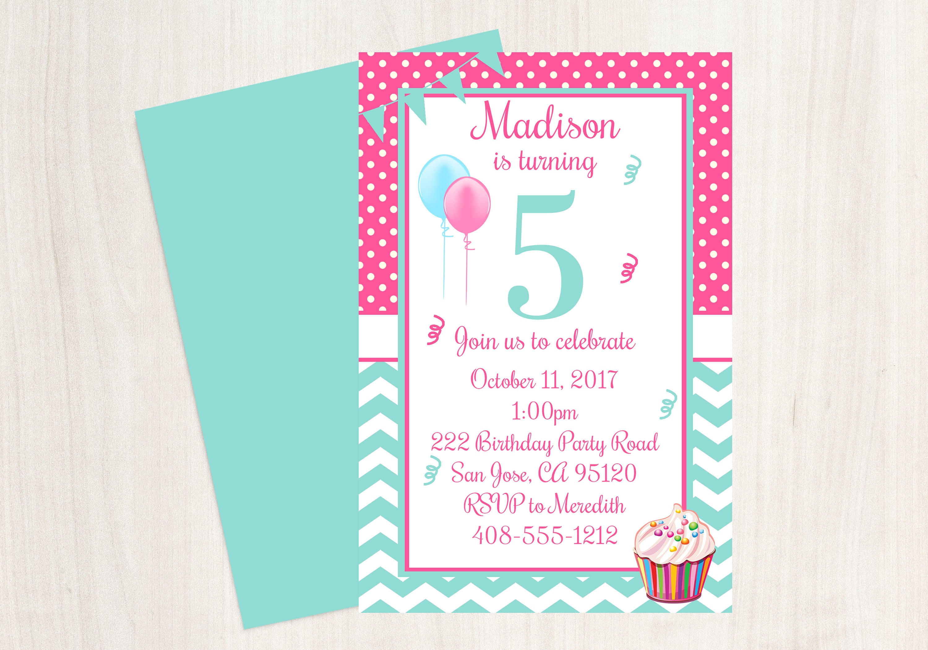 5th Birthday Party Invitation Fifth