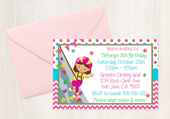 Rock Climbing Invitation Rock Climb Party Climbing Party Girls