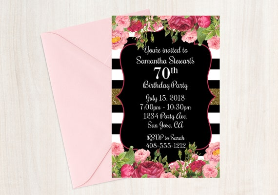 70th Birthday Invitation Invite Printable Floral Boho 70 Years Old