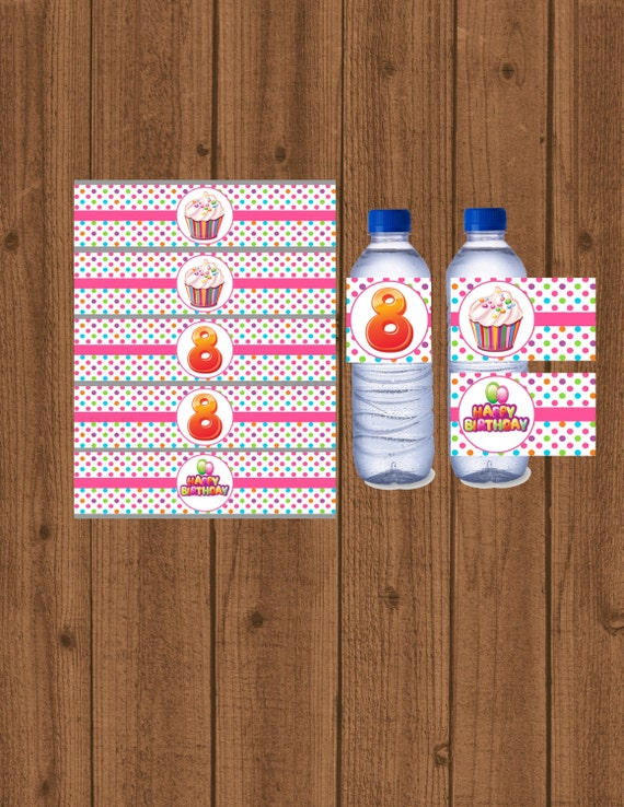 Cupcake Bottle Water Labels 8th Birthday Label Party Decorations Instant Download