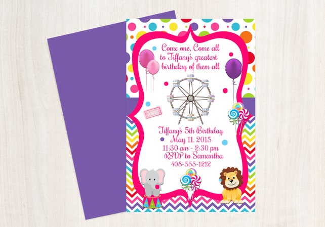 Circus Invitation Carnival Candyland Printable Invite Birthday 1st