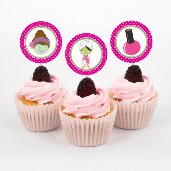 Wellness Cupcake Toppers Spa Geburtstagsfeier Madchen Etsy