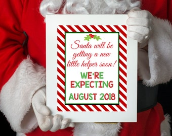 Santa Claus Baby Announcement, Christmas Baby, Baby Announcement, Christmas Pregnancy, Baby Sign, Pregnancy Sign, Pregnancy Announcement
