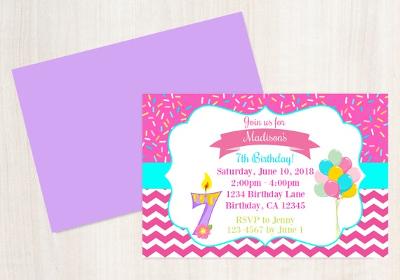 7th Birthday Invitation Printable Invite 7 Year Old Party Girls