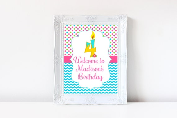 4th Birthday Welcome Sign Decorations Printable Fourth 4 Year Old Party Decoration