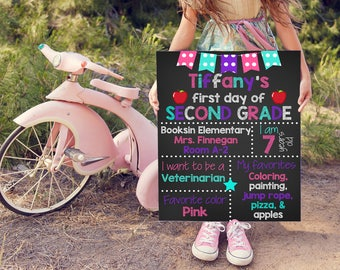First Day of School Sign, 1st Day of Second Grade, 1st Day of School Sign, Chalkboard School Sign, School Photo Prop, 2nd Grade Sign