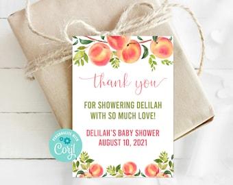 Editable Peach Favor Tag, Thank You Tag, Peach Baby Shower, Peach Birthday, Sweet Peach, Printable Tags, Corjl, Instant Download, SPBS
