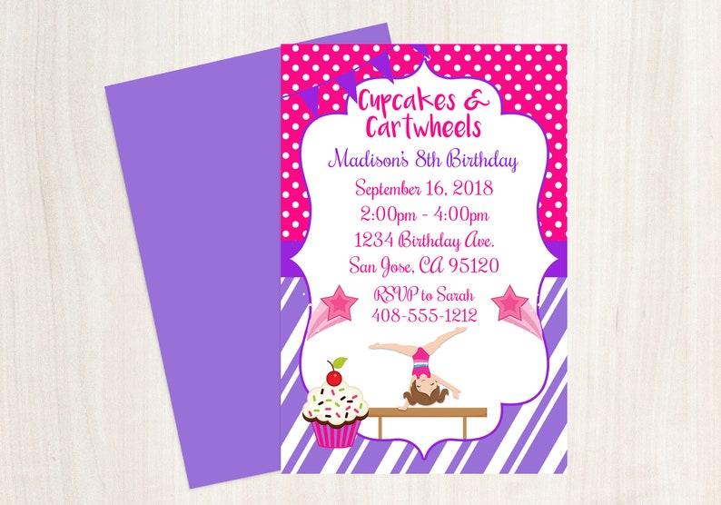 Cupcakes And Cartwheels Gymnastics Invitation