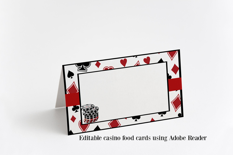 Editable Casino Food Tent Cards Casino Night Place Cards