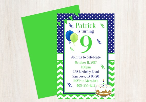 9th Birthday Printable Invitation Boys Party Blue And Green